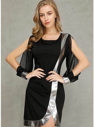 Color Block Long Sleeves/Split Sleeve Bodycon Above Knee Party/Elegant Dresses