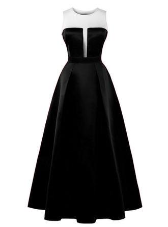 Color-block Round Neck Maxi A-line Dress