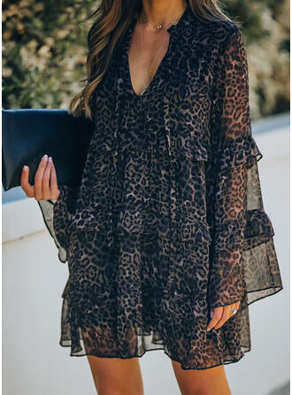 Leopard Long Sleeves/Flare Sleeves Shift Above Knee Elegant Dresses