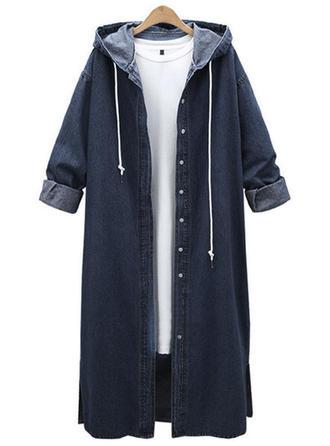 Dżinsowa Długie rękawy Jednolity kolor Wełna Płaszcze