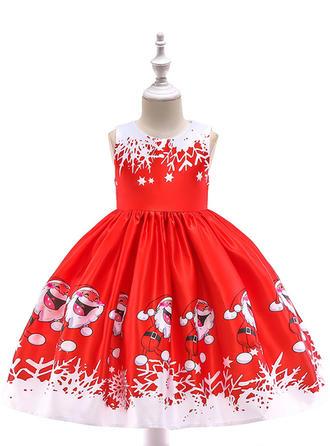 Dziewczyny Okrągły Dekolt Wydrukować Party Boże Narodzenie Sukienka