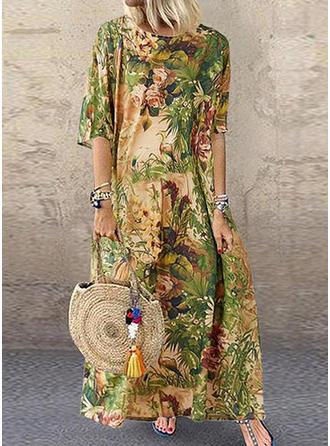 Nadrukowana/Kwiatowy Rękawy 1/2 Koktajlowa Maxi Casual Sukienki