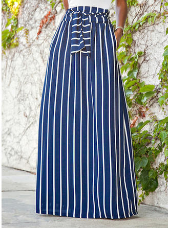 Viscose Striped Maxi A-Line Skirts