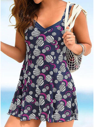 Print Strap U-Neck Elegant Plus Size Swimdresses Swimsuits