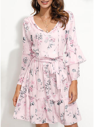 Print/Floral Long Sleeves/Flare Sleeves Sheath Above Knee Casual/Elegant Dresses
