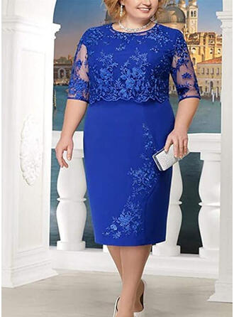 Lace/Solid 3/4 Sleeves Sheath Plus Size Midi Dresses