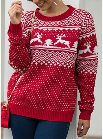 Women's Polyester Print Cable-knit Reindeer Ugly Christmas Sweater
