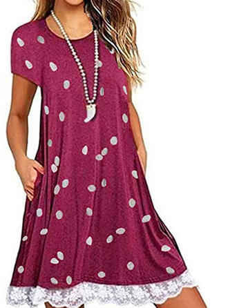 Lace/PolkaDot Short Sleeves Shift Above Knee Casual Dresses