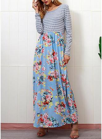 Wydrukować Kwiatowy paski Okrągły Dekolt Maxi Sukienkę przesunąć