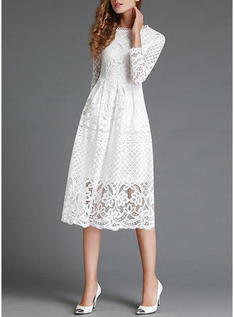 Cotton With Lace Knee Length/Midi Dress