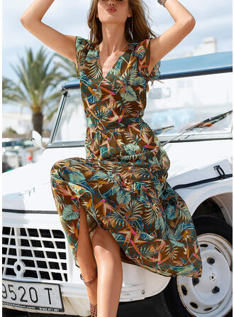 Print Cap Sleeve A-line Casual/Vacation Midi Dresses