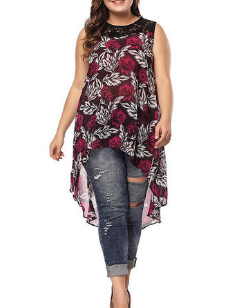 Lace/Print/Floral Sleeveless Shift Asymmetrical Casual/Plus Size Dresses