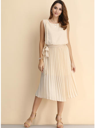Solid Sleeveless A-line Midi Vintage/Casual Dresses