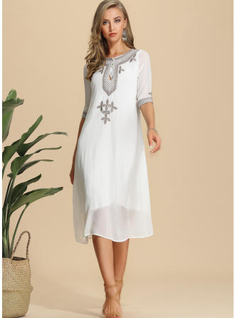 Embroidery/Solid 1/2 Sleeves Shift Knee Length Casual Dresses