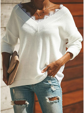 Plain V-neck Sweaters