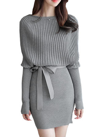 Long Sleeves Bodycon Above Knee Sweater/Casual/Elegant Dresses