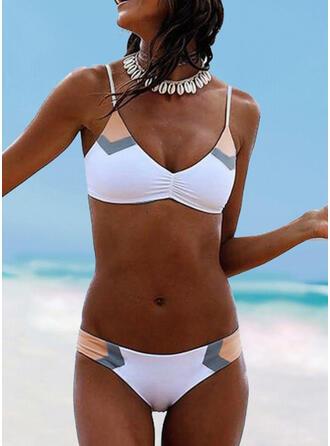 Niedrig Tailliert Träger V-Ausschnitt Sexy Bikinis Bademode