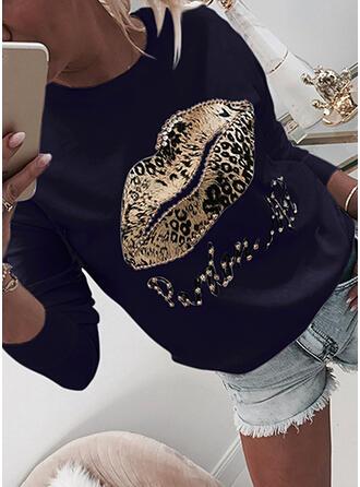 Leopard Figur Perlebrodering rund hals Lange ærmer Sweatshirts