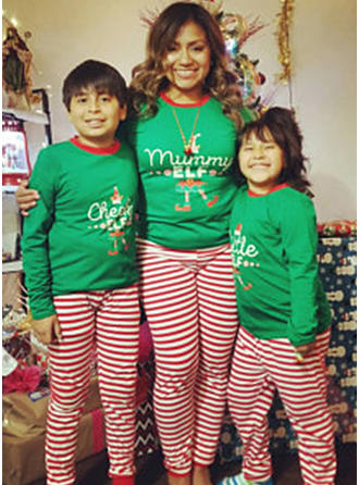 Letter Striped Christmas Family Matching