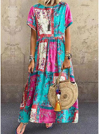 Print/Floral/Patchwork Short Sleeves Shift Maxi Casual Dresses