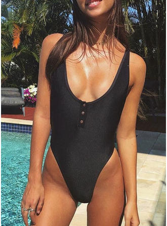 Solid Color Thong Strap Sexy One-piece Swimsuits