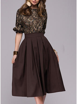 Print 1/2 Sleeves A-line Midi Vintage/Party/Elegant Dresses