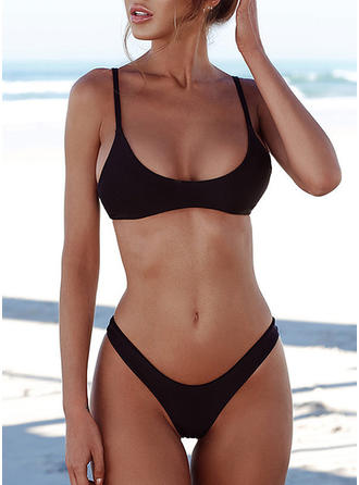 Solid Color Low Waist Strap U Neck Sexy Bikinis Swimsuits