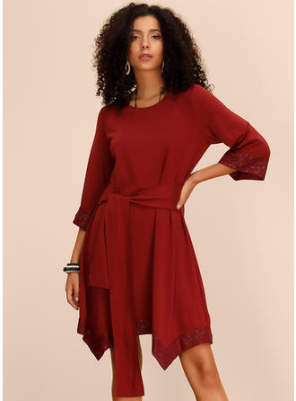 Print/Solid 3/4 Sleeves A-line Asymmetrical Casual Dresses