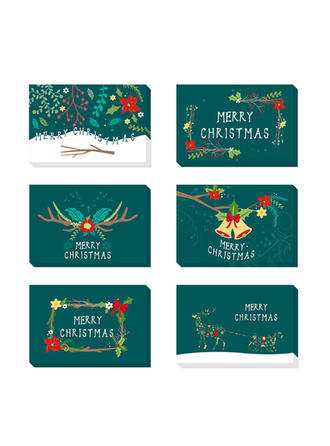 Merry Christmas With Envelope Card Paper Greeting Cards Postcards Invitations (Set of 48)