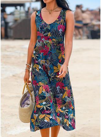 Print Sleeveless Shift Casual/Vacation Midi Dresses