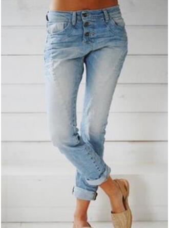 tasche arricciato Lungo Casuale Lungo Scheletrico Denim & Jeans