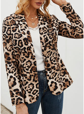 Polyester Long Sleeves Animal Print Jackets
