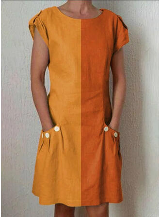 Print/Color Block Cap Sleeve Shift Knee Length Casual Dresses