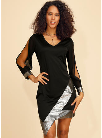 Sequins/Striped Long Sleeves/Split Sleeve Bodycon Above Knee Little Black/Sexy/Party Dresses