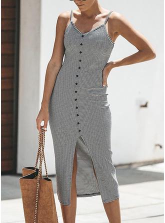 Striped Sleeveless Sheath Midi Casual Dresses