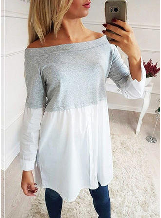 Color Block Off the Shoulder Long Sleeves Casual Knit Blouses