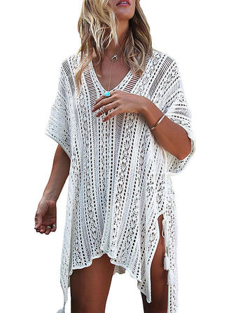 Solid Color Mesh V-neck Elegant Cover-ups Swimsuits