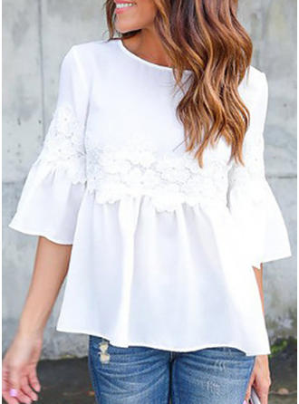 Solid Lace Round Neck Flare Sleeve 1/2 Sleeves Casual Elegant Blouses