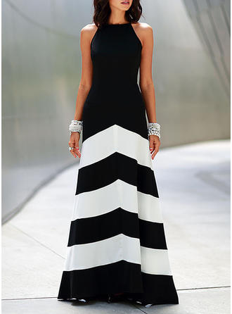 Striped Sleeveless A-line Maxi Sexy/Party Dresses