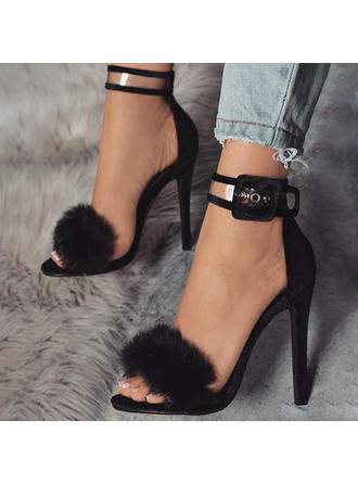 Women's Suede Stiletto Heel Sandals Pumps Peep Toe With Buckle Fur shoes