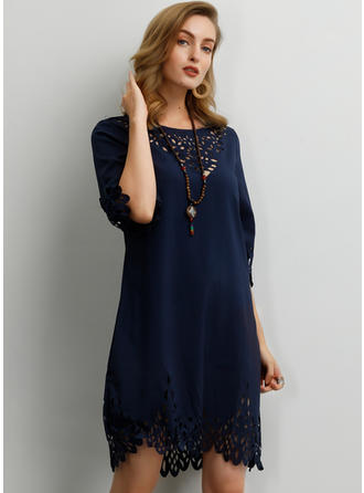 Solid 1/2 Sleeves Shift Above Knee Casual/Elegant Dresses