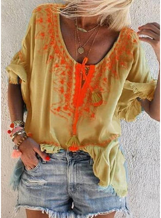 Embroidery V Neck 1/2 Sleeves Casual Elegant Blouses