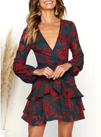 Floral Long Sleeves A-line Above Knee Vintage/Casual/Elegant/Vacation Dresses