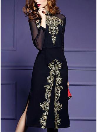 Embroidery Round Neck Midi A-line Dress