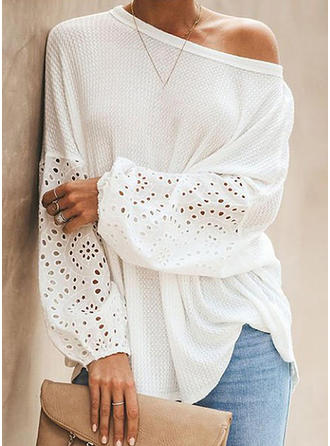 Solid Lace One-Shoulder Long Sleeves Casual Elegant Blouses