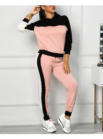 Bluza z kapturem Długie rękawy Blok kolorów Sport Zestawy Top i Spodnie