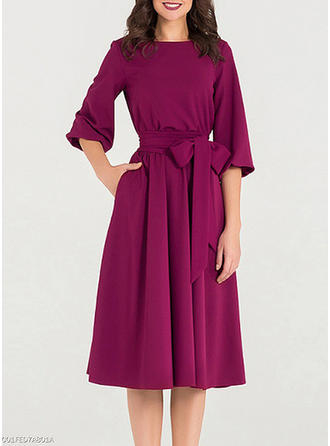 Solid 1/2 Sleeves A-line Knee Length Vintage/Elegant Dresses