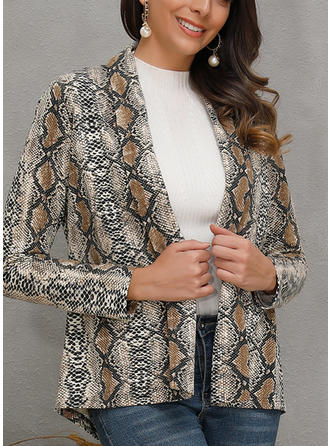 Cotton Blends Long Sleeves Animal Print Wide-Waisted Coats Jackets