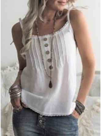 Solid Spaghetti Strap Sleeveless Button Up Casual Sexy Blouses