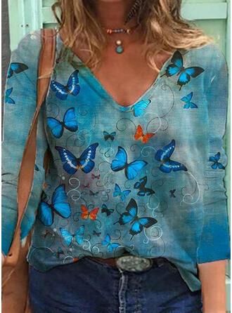 Print Butterfly V-Neck 3/4 Sleeves Sweatshirt